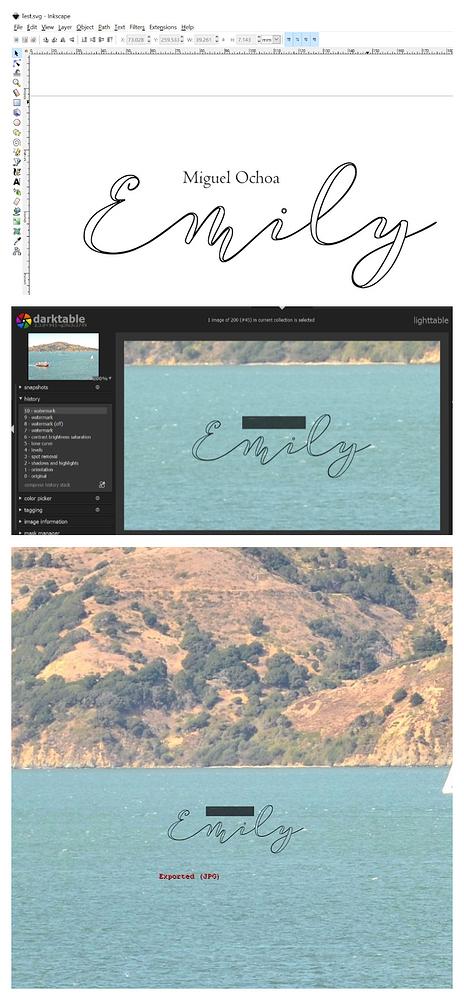 Reproducing Watermark error using SVG (image text) on Darktable