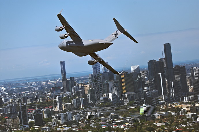 Globemaster over Brisbane