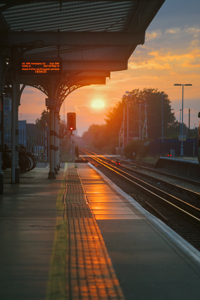 Sunset at the train station