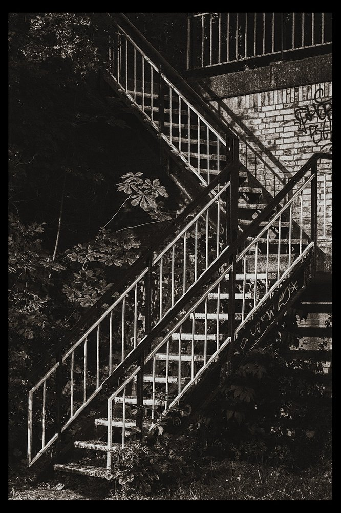 Stairs in Delft (B&W) city surprise