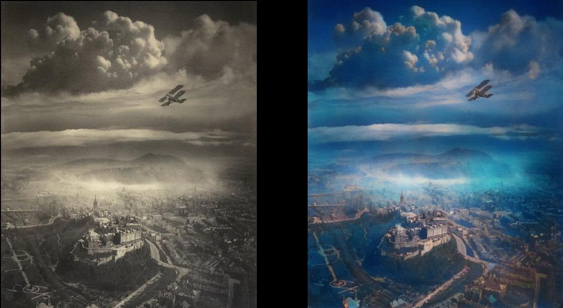 Edinburgh from the sky in the 1920s